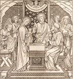 La lithographie de la présentation dans le temple par l'artiste inconnu avec les initiales F M S 1894 photos stock