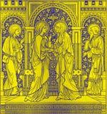 La lithographie de la visite dans Missale Romanum par l'artiste inconnu avec les initiales F M S 1885 image stock