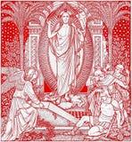 La lithographie de Resureection dans Missale Romanum par l'artiste inconnu avec les initiales F M S de la fin de 19 cent image stock
