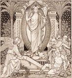 La lithographie de Resureection dans Missale Romanum par l'artiste inconnu avec les initiales F M S de la fin de 19 cent images stock
