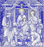 La lithographie de trois Rois mages dans Missale Romanum par l'artiste inconnu Photo libre de droits