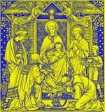 La lithographie de trois Rois mages dans Missale Romanum par l'artiste inconnu avec les initiales F M S de la fin de 19 cent image stock