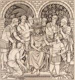 La lithographie du couronnement avec des épines dans Missale Romanum par l'artiste inconnu avec les initiales F M S 1890 images stock