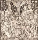 La lithographie du dépôt dans Missale Romanum par l'artiste inconnu avec les initiales F M S 1892 photographie stock