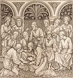 La lithographie du dernier dîner dans Missale Romanum par l'artiste inconnu avec les initiales F M S 1890 photos libres de droits