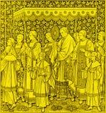 La lithographie du festin du corps et du sang les plus saints du cortège du Christ par l'artiste inconnu F M S 1889 photo libre de droits