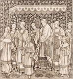 La lithographie du festin du corps et du sang les plus saints du cortège du Christ par l'artiste inconnu F M S 1889 images stock