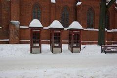 La Lithuanie, Kaunas, cabine de téléphone photo libre de droits
