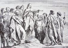 La litografia di Jesus Sends Out His Disciples dall'artista Scheuchl 1907 Immagine Stock Libera da Diritti