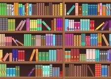 La littérature d'étagères à livres de bibliothèque réserve le fond de vecteur de bande dessinée illustration de vecteur