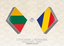 La Lituania contro la Romania, lega C, gruppo 4 Competi di calcio di Europa royalty illustrazione gratis