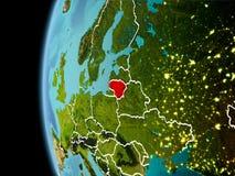 La Lituania da spazio nella sera Immagini Stock