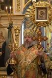 La liturgia para el banquete de Ramos Domingo en la iglesia de la ciudad de Gomel (Bielorrusia) Foto de archivo