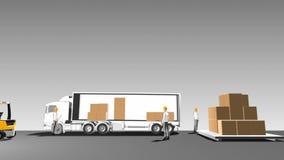 La livraison automatique des marchandises sur le camion, marchandises de chargement, Internet de technologie de choses vue de côt illustration libre de droits