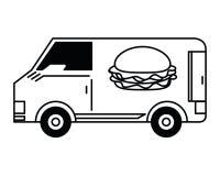 La livraison d'aliments de préparation rapide noire et blanche illustration de vecteur