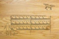 La livraison de bourdon du colis en ligne d'ordre, version d'entrepôt Image stock