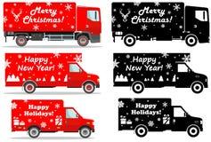 La livraison de Noël et de nouvelle année Ensemble d'illustration détaillée différente des camions de livraison et des silhouette Images stock