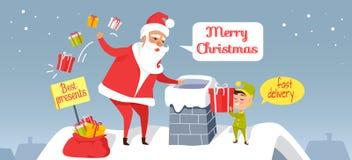 La livraison de Santa Joyeux Noël Les meilleurs présents Photographie stock libre de droits