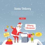 La livraison de Santa Joyeux Noël Les meilleurs présents Photo libre de droits