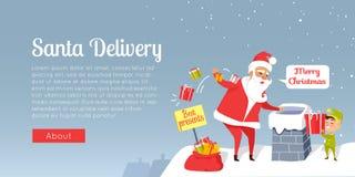 La livraison de Santa Joyeux Noël Les meilleurs présents Photos libres de droits