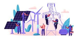 La livraison de service électrique de l'énergie au consommateur Transmission et distribution de l'électricité Panneau solaire d'i illustration de vecteur