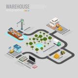 La livraison de stockage d'infographics d'entrepôt embarquant t Photos stock