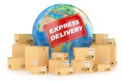 La livraison express dans le monde entier. Concept Photographie stock libre de droits