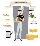 La livraison express, ensemble Messager de jeune fille avec un colis, lettre, gâteau, pizza, fleurs, à disposition Photos libres de droits