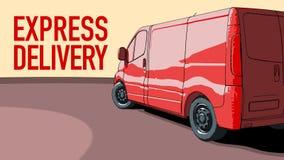 La livraison express van motion rouge illustration stock