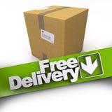 La livraison gratuite, boîte en carton Images libres de droits