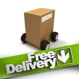 La livraison gratuite, boîte sur des roues illustration stock