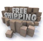 La livraison gratuite d'ordres de paquets de boîtes en carton d'expédition Images stock