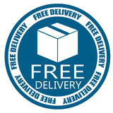 La livraison gratuite embarquant l'insigne bleu Photographie stock