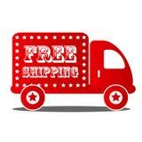 La livraison gratuite embarquant le camion rouge Photo libre de droits