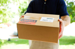 La livraison : Homme tenant une expédition Photographie stock libre de droits