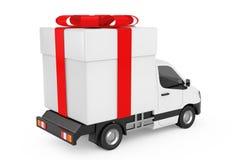 La livraison industrielle commerciale blanche Van Truck Loaded de cargaison avec Photos libres de droits