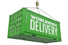 La livraison mondiale - récipient vert Images libres de droits