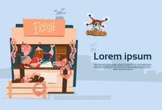 La livraison organique de bourdon du marché de produits de Sell Pork Meat d'agriculteur illustration libre de droits