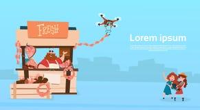 La livraison organique de bourdon du marché de produits de Sell Pork Meat d'agriculteur illustration de vecteur