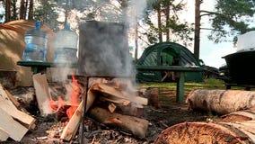 La llama de madera del pote del fuego metrajes