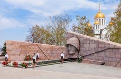La llama eterna en el complejo conmemorativo en el Samara, Rusia Fotos de archivo