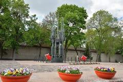 La llama eterna en Pskov en la tumba del soldado desconocido Me Imagen de archivo libre de regalías