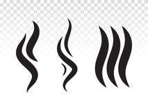 La llama o el olor del humo del Bbq fumes el icono del vapor ilustración del vector