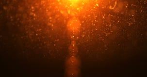 La llamarada ligera de oro abstracta se escapa con el bokeh de las partículas del oro, Navidad del día de fiesta festiva metrajes