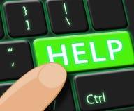 La llave de ayuda significa la representación del World Wide Web 3d stock de ilustración
