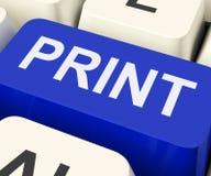 La llave de la impresión muestra a la impresora Printing Or Printout Fotografía de archivo libre de regalías