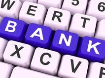 La llave del banco muestra actividades bancarias en línea o electrónicas Imágenes de archivo libres de regalías