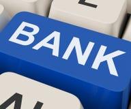 La llave del banco muestra en línea o las actividades bancarias de Internet Imagen de archivo