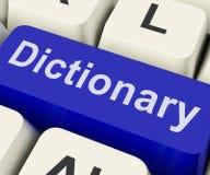 La llave del diccionario muestra en línea o referencia de la definición del web fotos de archivo libres de regalías