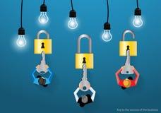 La llave del vector al éxito del negocio tiene un diseño plano de la lámpara del bloqueo de teclas Imagen de archivo